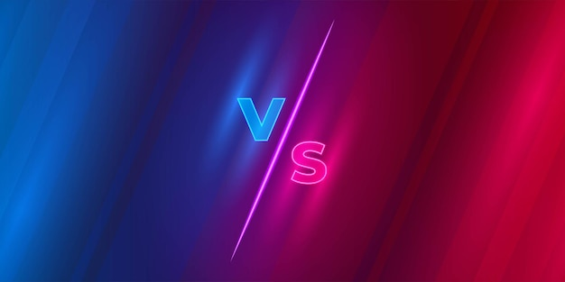 Versus scherm of vs strijd kop op rode en blauwe achtergrond