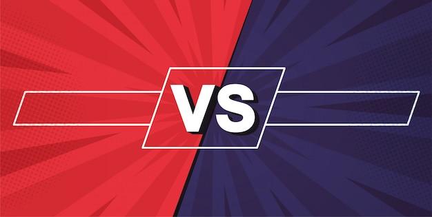 Versus scherm. vecht achtergronden tegen elkaar, rood versus blauw.
