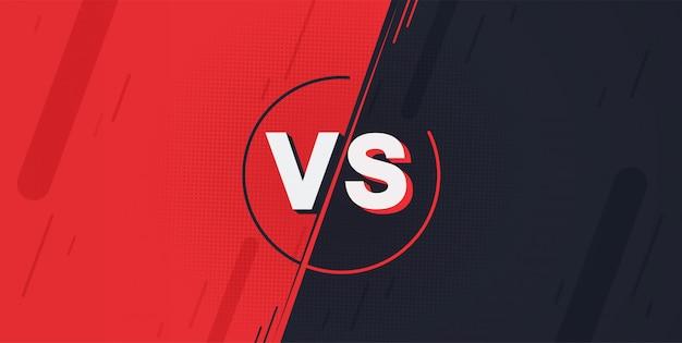 Versus scherm. vecht achtergronden tegen elkaar, rood versus donkerblauw.