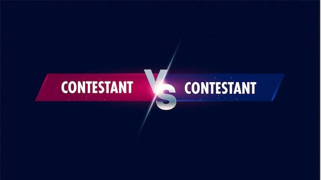 Versus scherm. versus strijdkop, conflictduel tussen rode en blauwe teams. confrontatie vecht competitie.