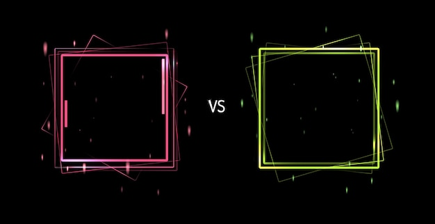 Versus schermconcept. neon futuristische aankondiging van een vectorillustratie voor twee spelers