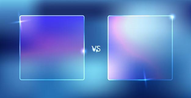 Versus schermconcept. neon futuristische aankondiging van een vectorillustratie voor twee spelers Premium Vector