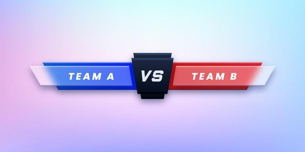 Versus schermontwerp voor sportcompetitie