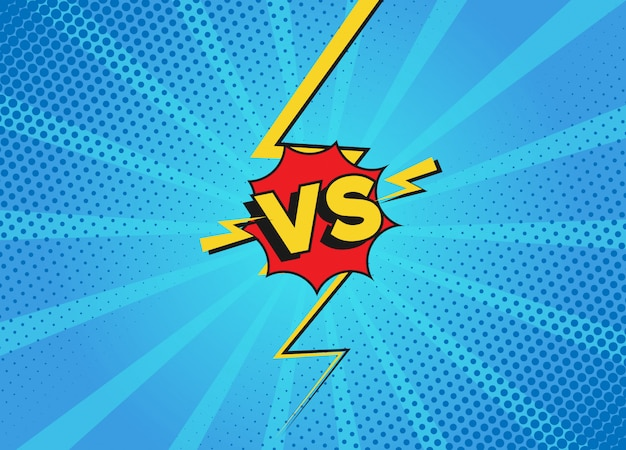 Versus vecht achtergronden in platte stripstijl. versus battle challenge geïsoleerd op blauwe achtergrond. cartoon strips achtergrond. komisch vechtduel met bliksemstraalrand.