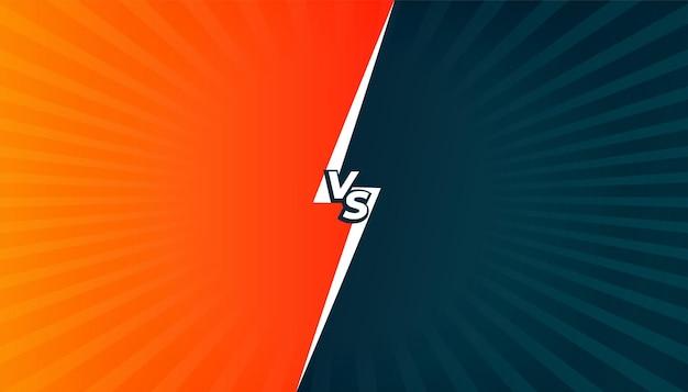 Versus versus vergelijking of gevechtsschermachtergrond in komische stijl