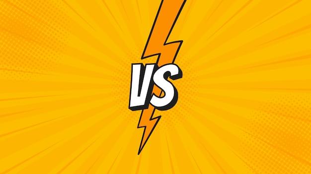 Versus vs-bord met bliksemschicht geïsoleerd op vechtachtergronden in plat stripstijlontwerp met halftoon, bliksem voor strijd, sport, competitie, wedstrijd, wedstrijdspel.