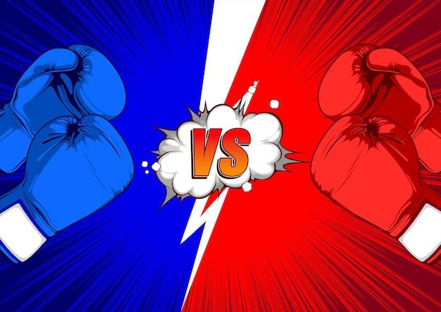 Versus vs fight comic achtergrond tekstballonnen.