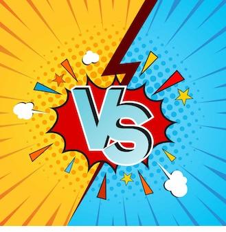 Versus vs letters vechten achtergronden in plat stripstijlontwerp met halftoon