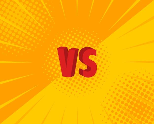 Versus vs letters vechten in platte stripstijl. illustratie
