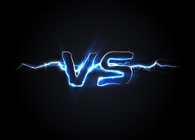 Versus vs logo battle kop sjabloon sprankelende bliksem ontwerp geïsoleerde vectorillustratie op
