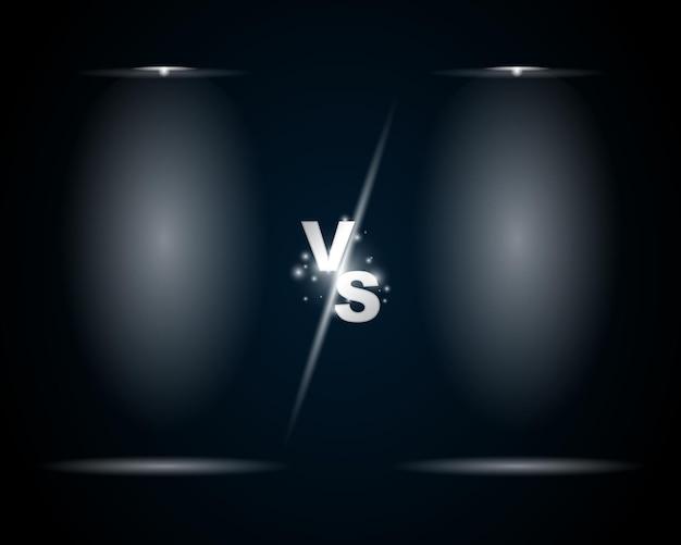 Versus vs teken en schermachtergrond met spotlightt