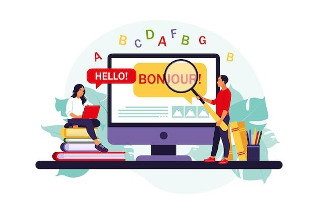 Vertaler en vertaaldienst. mensen die online vertalingen gebruiken. het vertalen van een vreemde taal ... geïsoleerd plat.