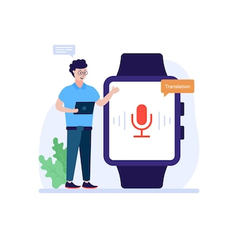 Vertaler horloge vlakke afbeelding is beschikbaar voor premium download