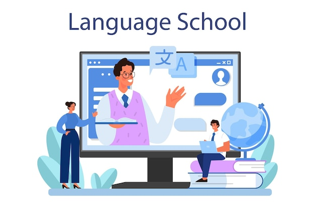 Vertaler online service of platform Premium Vector