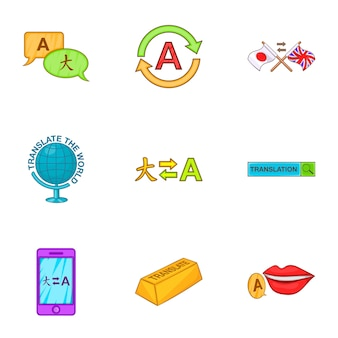 Vertaling iconen set, cartoon stijl