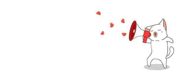 Vertelt de banner schattige kat liefde met megafoon