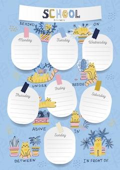 Verticaal a4-schema voor kinderen met velstickers met ruimte voor notities