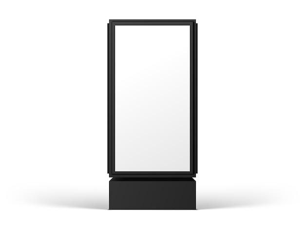 Verticaal straataanplakbord voor reclame, vooraanzicht, dat op witte achtergrond wordt geïsoleerd. realistische afbeelding