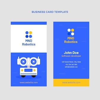 Verticaal visitekaartje met minimale technologie in vlakke stijl