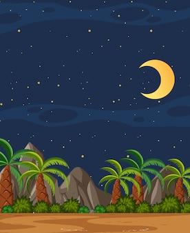 Verticale aardscène of landschapslandschap met de bomen van plam bekijken en lege hemel bij nacht
