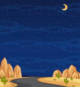Verticale aardscène of landschapslandschap met middenwegmanier in woestijn en lege hemel bij nacht