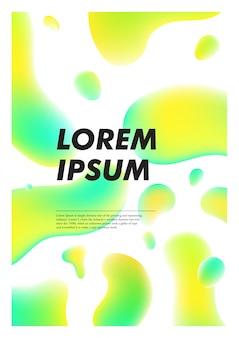Verticale abstracte achtergrond met vloeibare heldere plasma druppels. voorbladsjabloon met kleurrijke vloeiende vormen. poster met plaats voor tekst.