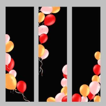 Verticale achtergrond die met kleurrijke heliumballons wordt geplaatst.