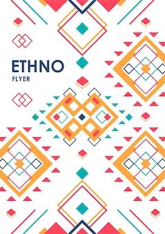Verticale achtergrond met geometrische etnische versiering. ethno abstract poster sjabloon met plaats voor tekst.