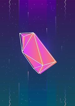 Verticale achtergrond met gloeiende felgekleurde vliegende gefacetteerde steen of kristal en de omtrek tegen de ruimte met sterren op de achtergrond. kleurrijke vectorillustratie in coole moderne stijl