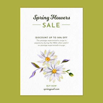 Verticale aquarel flyer-sjabloon voor de lente met bloemen