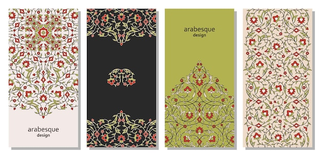 Verticale arabesque bloemenbanners