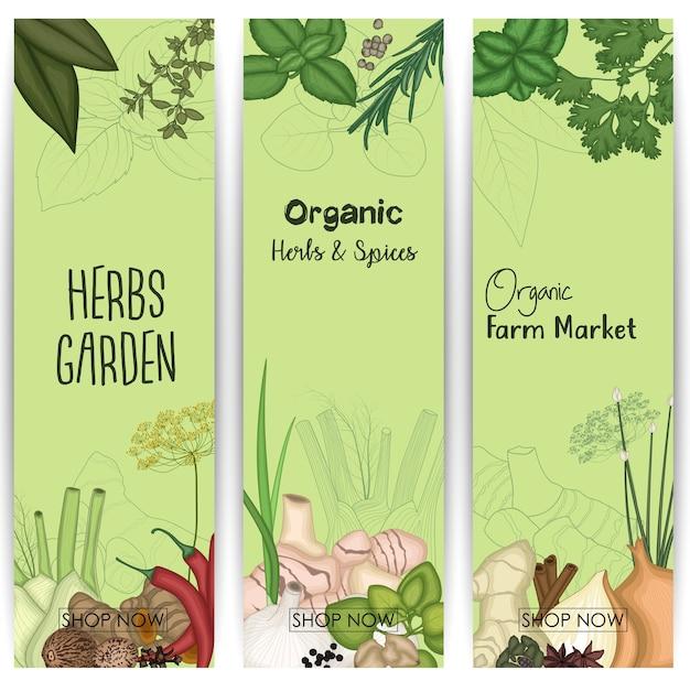 Verticale banner die met kruiden en kruiden wordt geplaatst