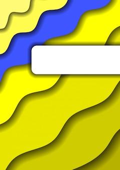 Verticale banner met 3d-papier snijd gele lagen diagonale golven