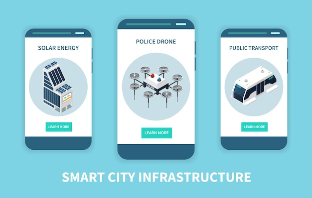 Verticale banner set voor slimme stadstechnologie