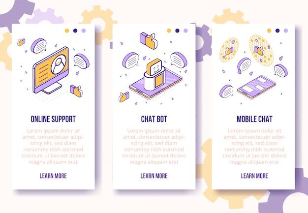 Verticale bannermalplaatje. isometrische sociale marketing pictogram-mobiele telefoon, laptop, hart, duim omhoog, berichten-web online concept