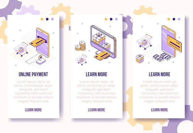 Verticale bannermalplaatje. isometrische sociale zaken pictogram-mobiele telefoon, betaalpas, geld, pakketten-web online concept