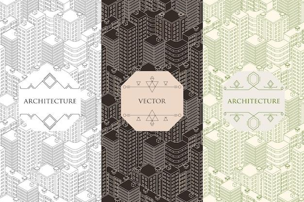 Verticale banners architectuur. naadloze patroon, isometrische vlakke stijl. sjabloon voor stadsgebouwen. label. vector illustratie.