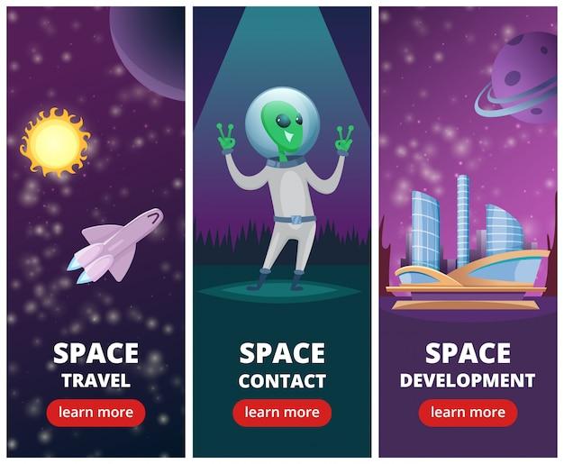 Verticale banners met afbeeldingen van ruimte