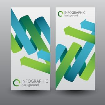 Verticale banners met groene en blauwe gebogen lintpijlen
