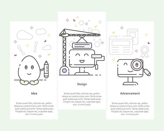 Verticale banners met idee, ontwerp, vooruitgang concept