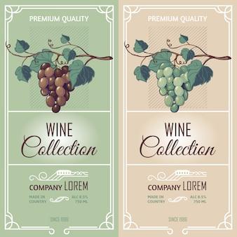 Verticale banners met wijnetiketten
