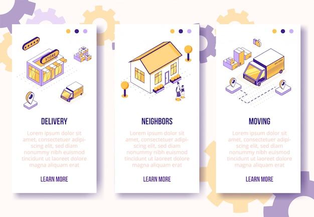 Verticale banners sjabloon. isometrisch sociaal bedrijf toneel-huis, mensenkarakters, vrachtwagen, vakjes op het web online concept van de bannerpagina