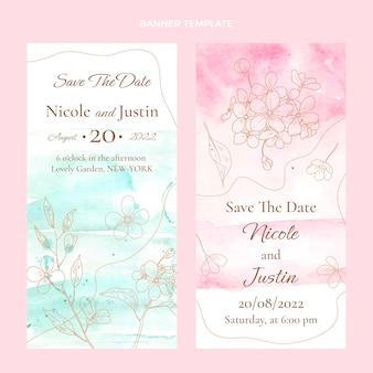 Verticale banners voor aquarelhuwelijk