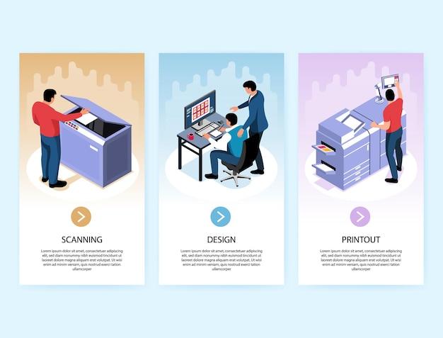 Verticale banners voor de grafische industrie met ontwerpscanafdruk Premium Vector