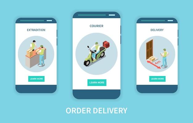 Verticale banners voor mobiele websites met uitlevering van bestelling en bezorging door koerier