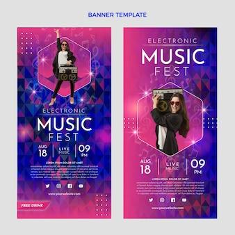 Verticale banners voor muziekfestivals met kleurovergang