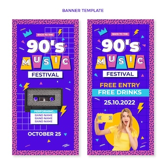 Verticale banners voor nostalgische muziekfestivals uit de jaren 90