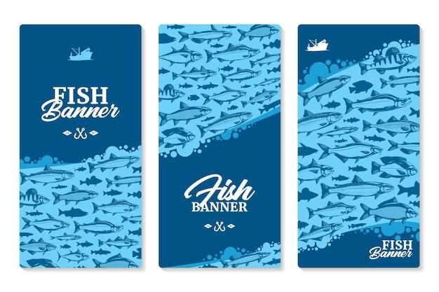 Verticale banners voor vissen met illustraties en silhouetten van vissen