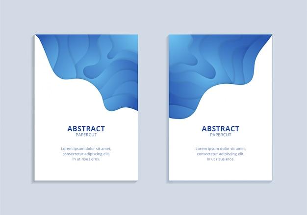 Verticale blauwe golvende vormen a4 poster set sjabloon