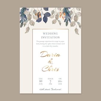 Verticale bloemen bruiloft kaartsjabloon